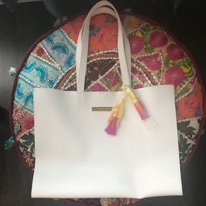 Vince Camuto White/Three- Tiered Tassle Tote Bag